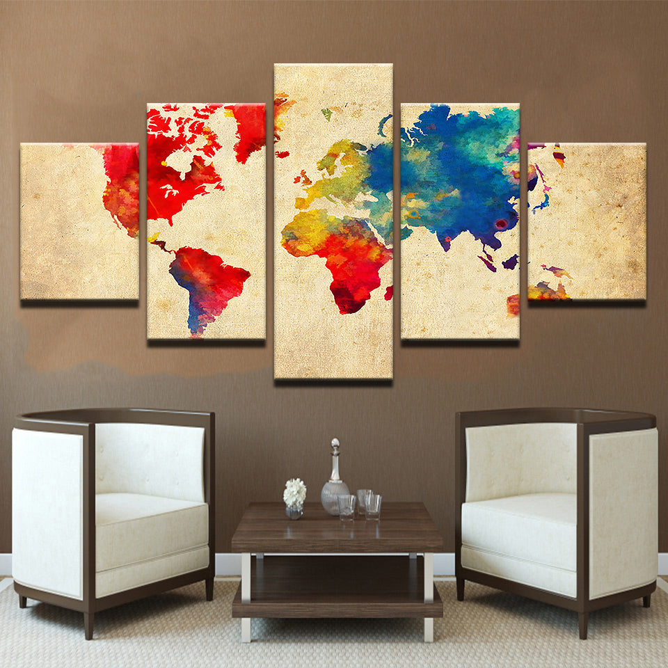 Earth Map Custom Colours Five Piece Canvas