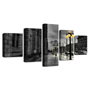 Black White London City Streetscape Five Piece Canvas