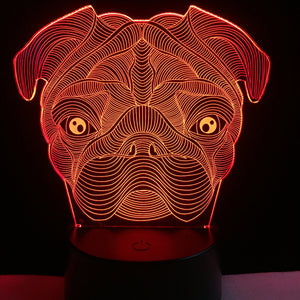 LED Pug Dog Lamp