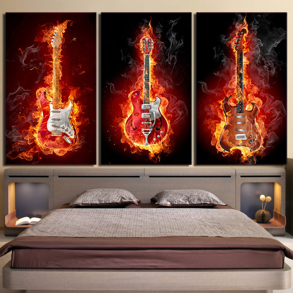 Chords Of Flames Three Piece Canvas