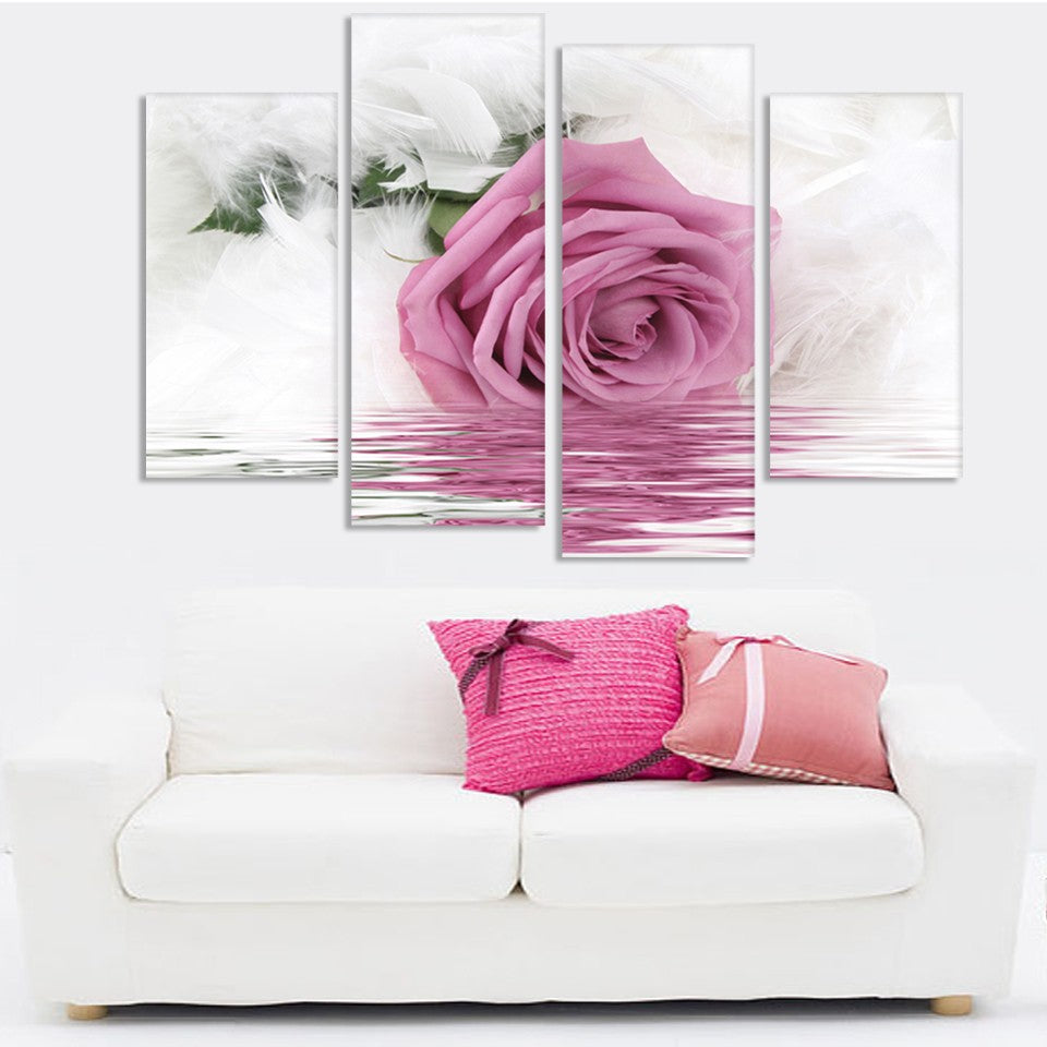Pink Rose Flower In Water Four Piece Canvas