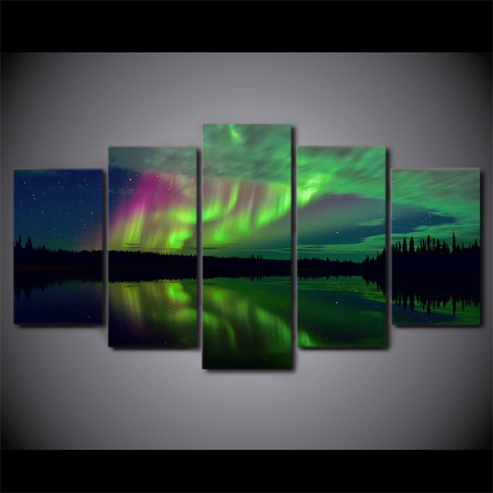 Aurora Lake Shadowy Night Five Piece Canvas