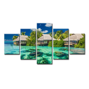 Beautiful Huts On Water Five Piece Canvas