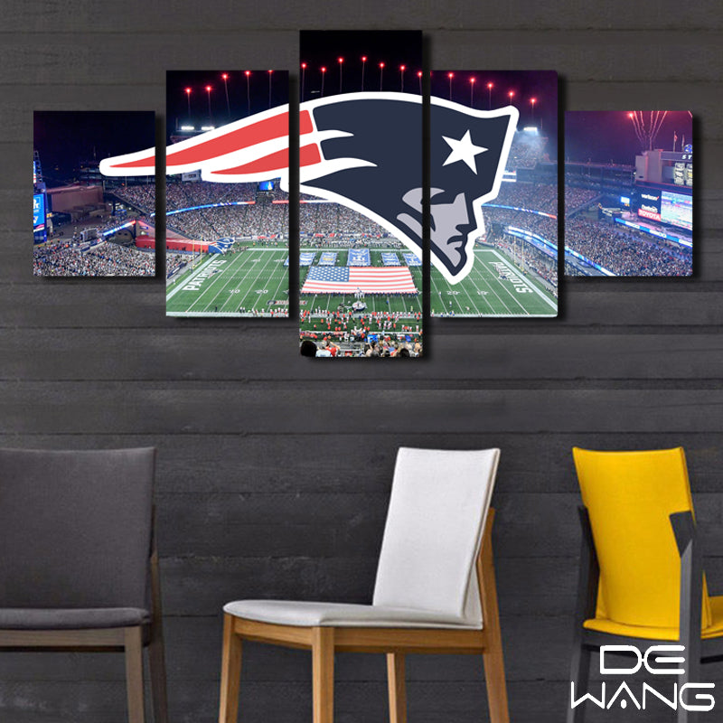 Patriots Logo With Field In Back Ground Five Piece Canvas