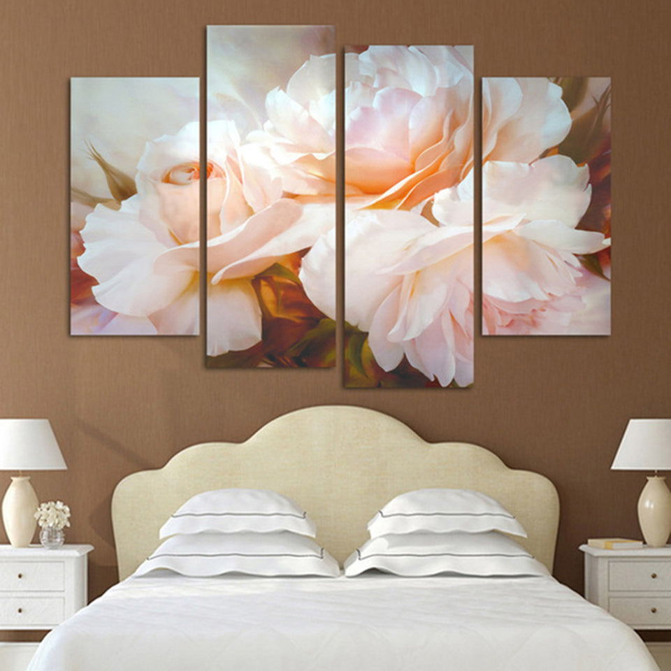 Pink Rose Flower Four Piece Canvas