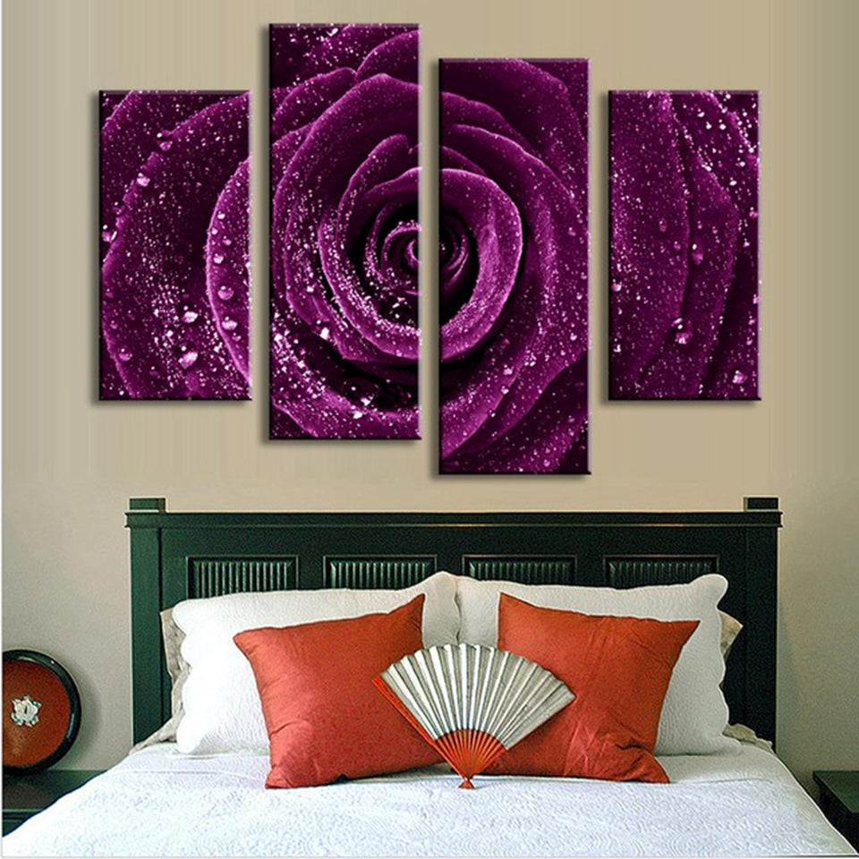 Purple Rose With Raindrops Four Piece Canvas