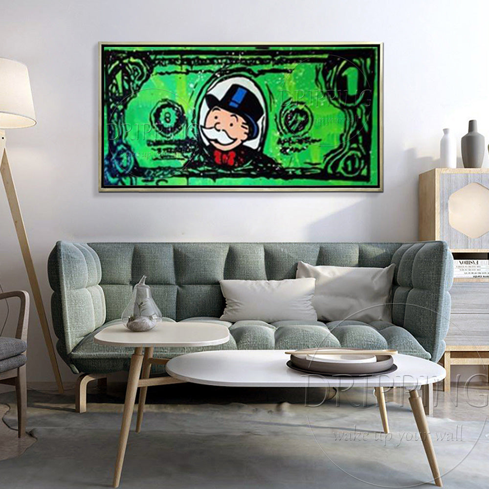Monopoly Man Graffiti Dollar Sign Single Piece Canvas