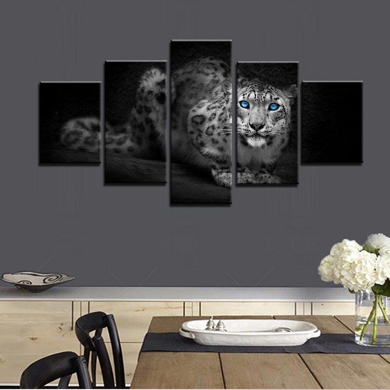 Laying Leopard Five Piece Canvas