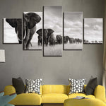 Elephants Marching Five Piece Canvas