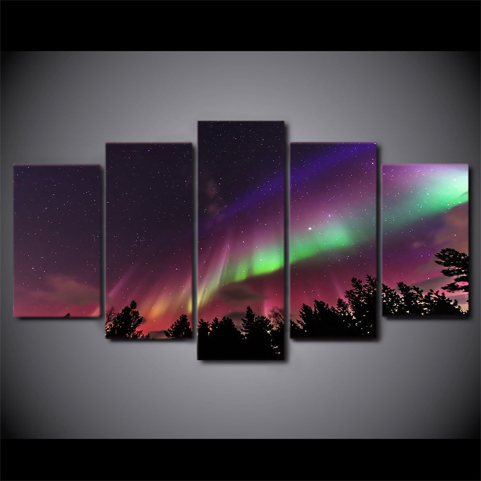 Starry Sky Aurora Five Piece Canvas
