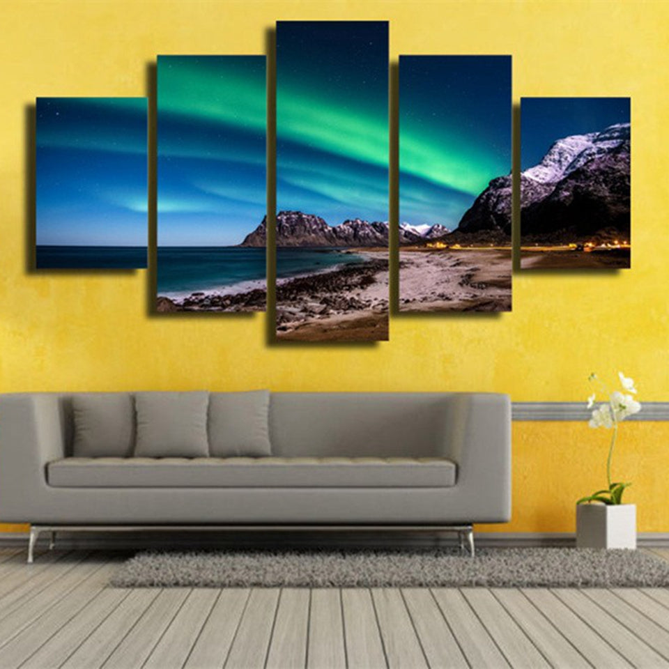 Aurora Borealis Sandy Beach Five Piece Canvas