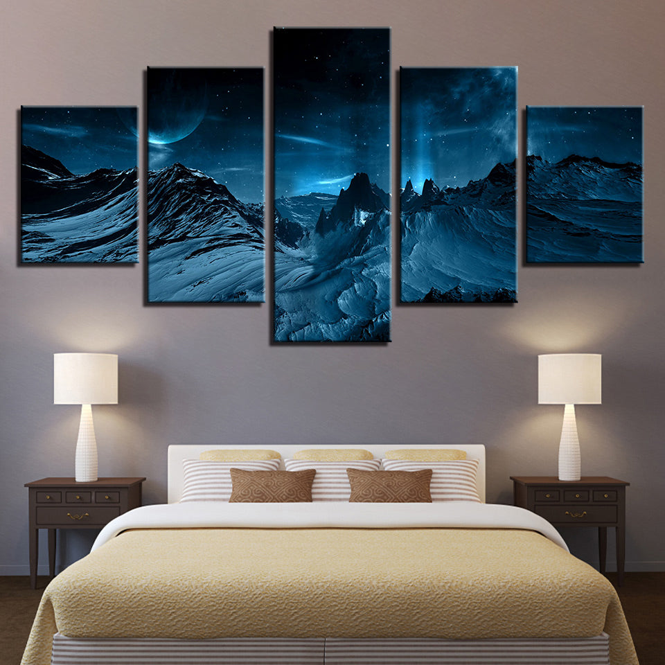 Blue Aurora Borealis Snowy Mountain Five Piece Canvas