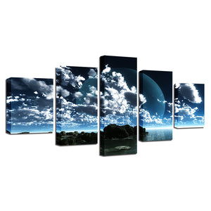 Clouds & The Moon Five Piece Canvas