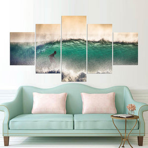 Waves On The Shore Five Piece Canvas
