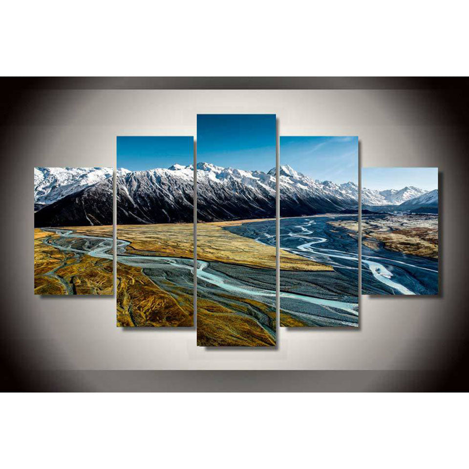 Snowy Mountains Five Piece Canvas