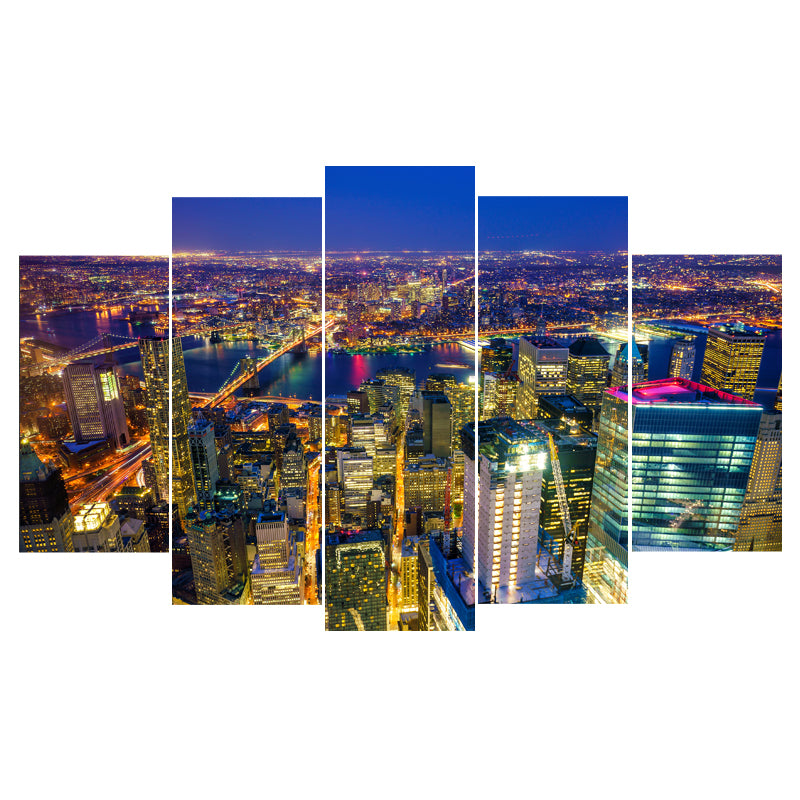 Busy Cities Never Sleep Five Piece Canvas