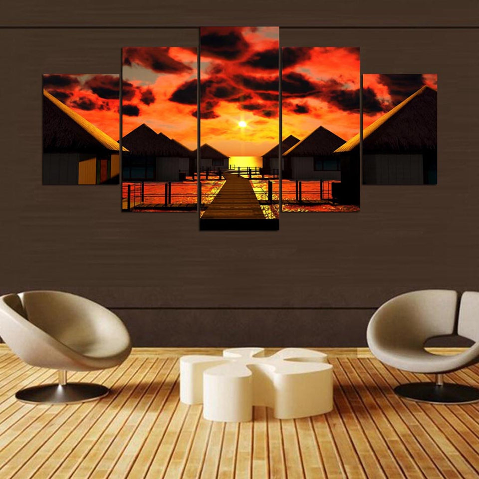 Sunset Glow In Bali Five Piece Canvas