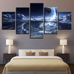 Planets & Clouds Five Piece Canvas