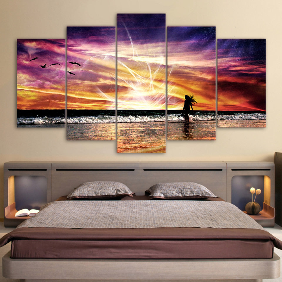 Sea Wave Beach Sunset Five Piece Canvas