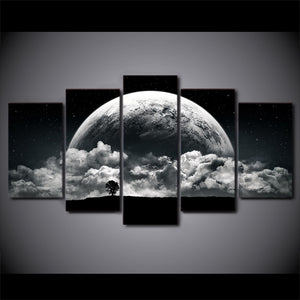 Planet & Clouds Five Piece Canvas