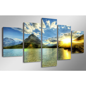 Sunrise Over The Mountain Five Piece Canvas
