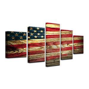 American Flag on Wood Five Piece Canvas