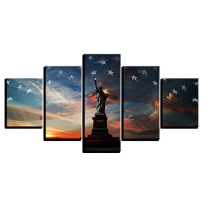New Art 5 Panel Statue Of Liberty National Flag