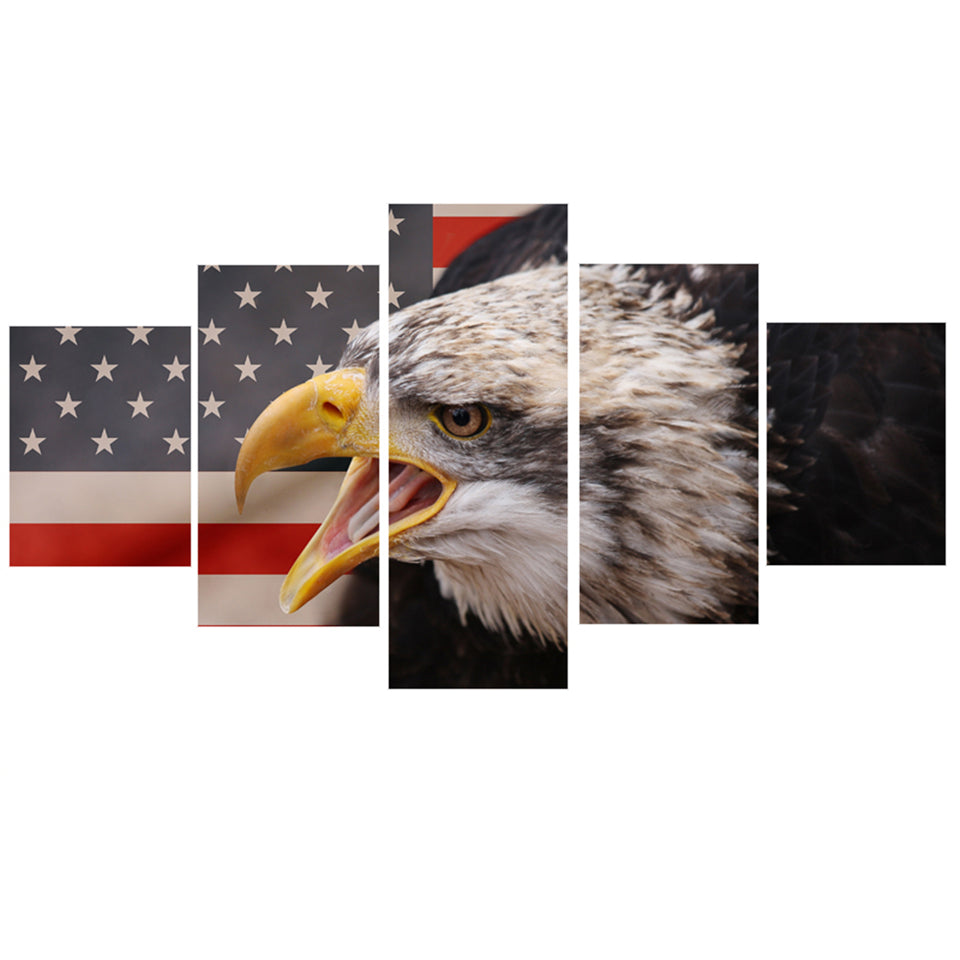 National American Flag With Eagle Five Piece Canvas