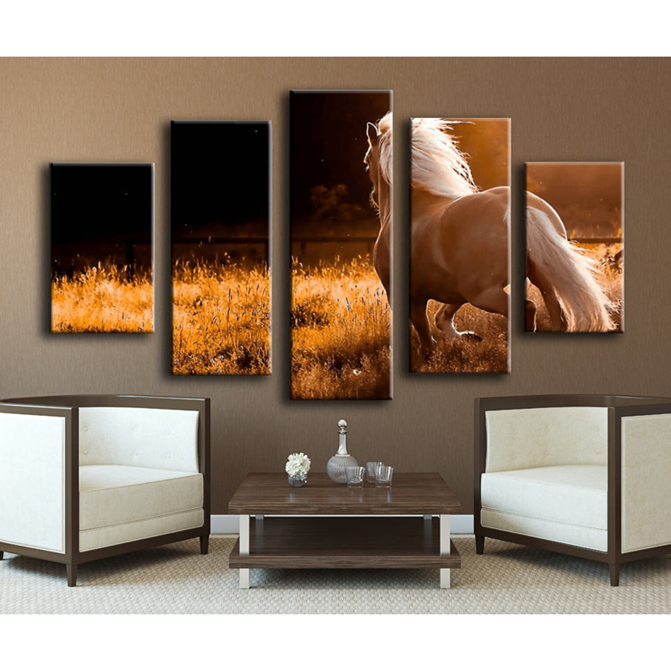 Horse Charging Five Piece Canvas