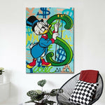 Donald Duck Money Sign Single Piece Canvas