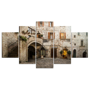 Old Stone Building Five Piece Canvas