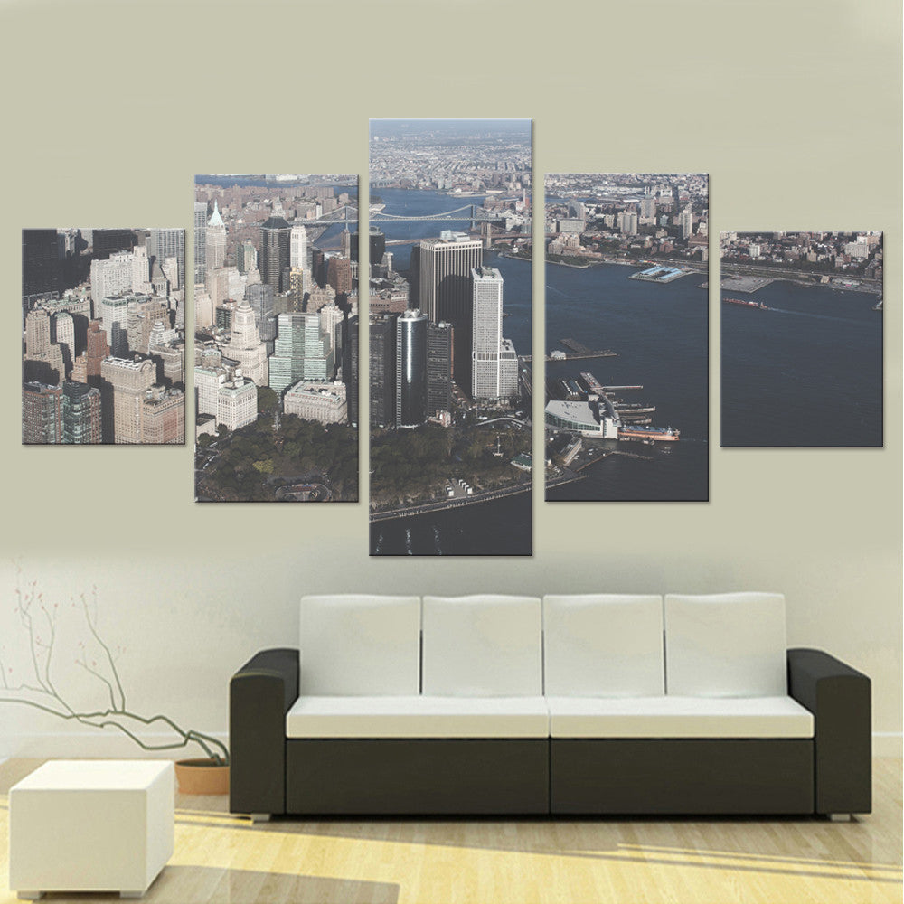 Prosperous City Five Piece Canvas