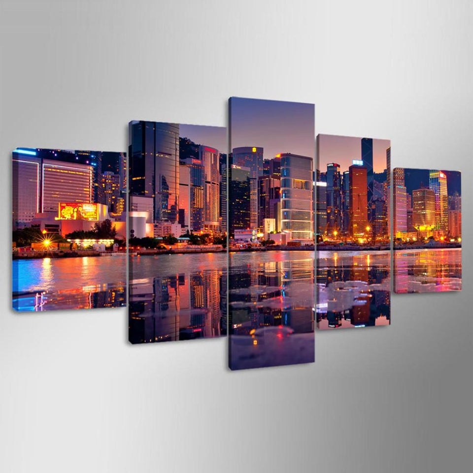 Beautiful City Night View Five Piece Canvas