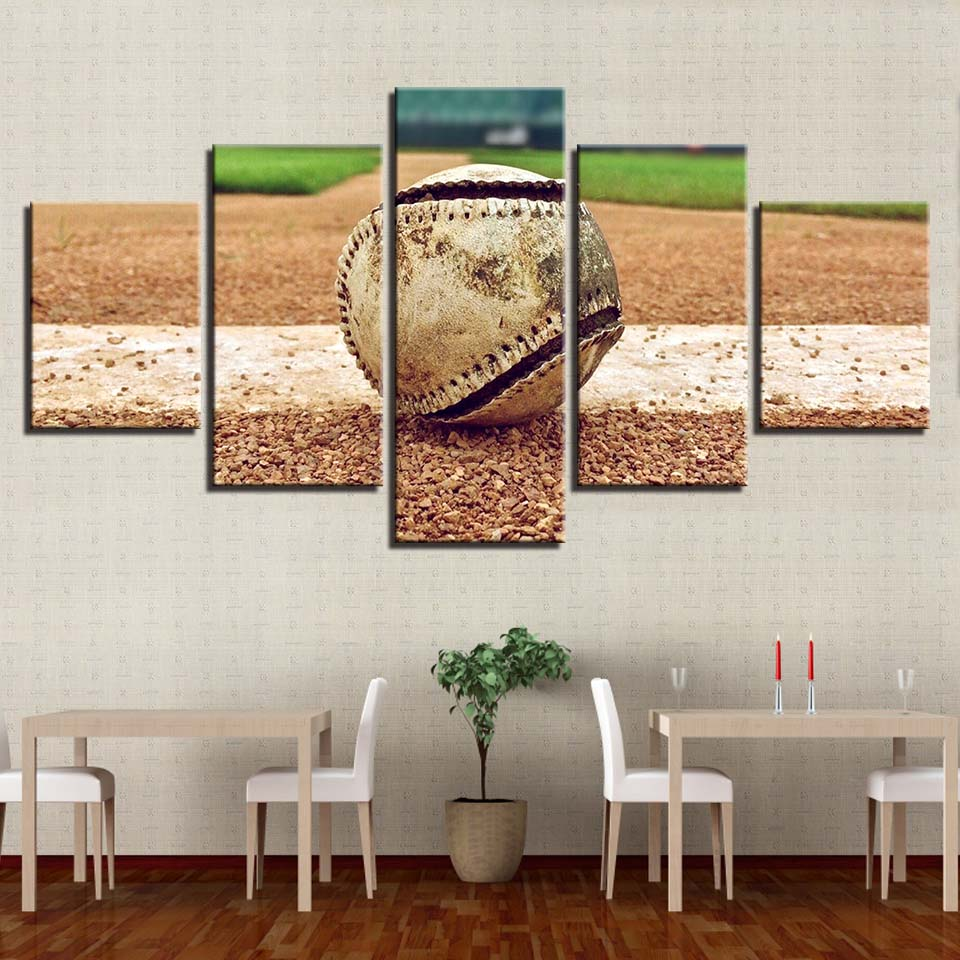 Battered Baseball Five Piece Canvas