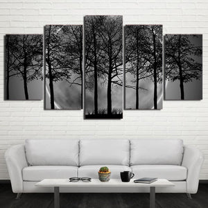 Black White Grey Psychedelic Forest Landscape Five Piece Canvas