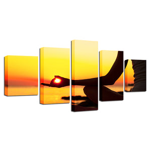Yoga At Sunset Five Piece Canvas