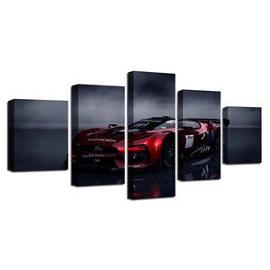 Red Sports Car Five Piece Canvas