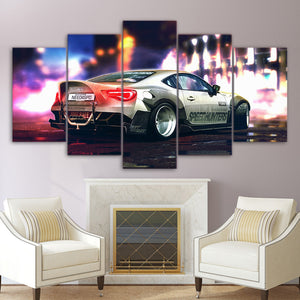 Street Racing At Night Five Piece Canvas