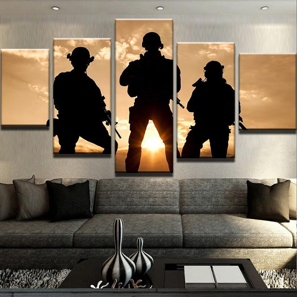 Sunset Soldiers Five Piece Canvas