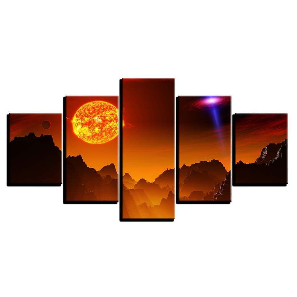Bold Sun Over Mountain Landscape 5 Piece Canvas
