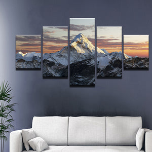 Snowy Mountains Snowscape 5 Piece Canvas