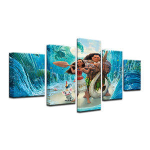Hawaiian Surfers Cartoon 2 Five Piece Canvas