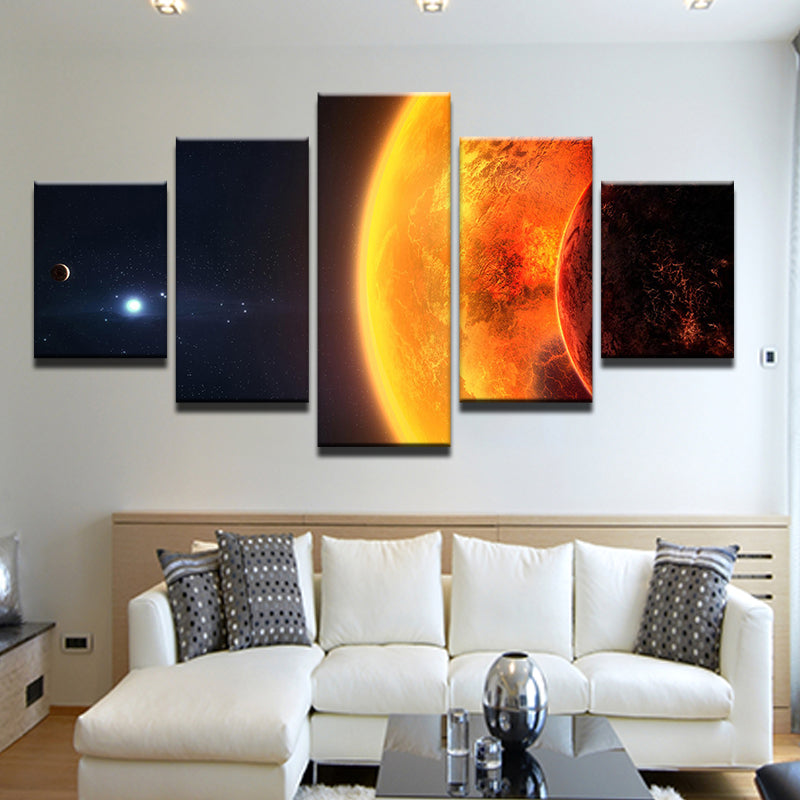 Sun Overshadowing Earth Five Piece Canvas