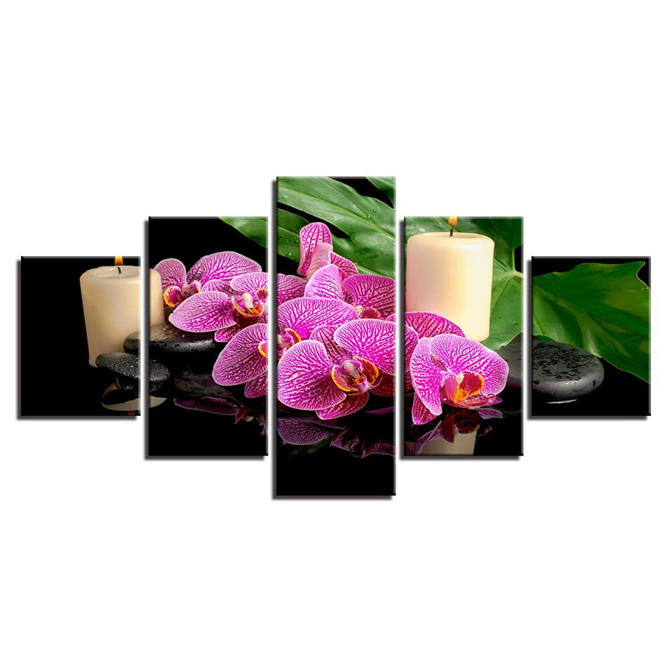 Canvas HD Frame Home Decoration Modern Painting Wall Art 5 Panel Candle Flower Pebbles For Living Room Printed Pictures Poster