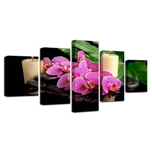 Flowers Candle Pebbles Five Piece Canvas