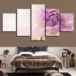 Beautiful White Purple Flowers Five Piece Canvas