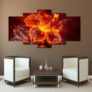 Flame Flower Five Piece Canvas