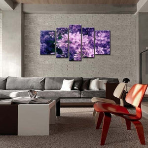 Lilac Little Flowers Five Piece Canvas
