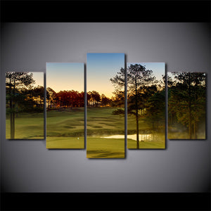 Green Golf Course With Sunset Five Piece Canvas