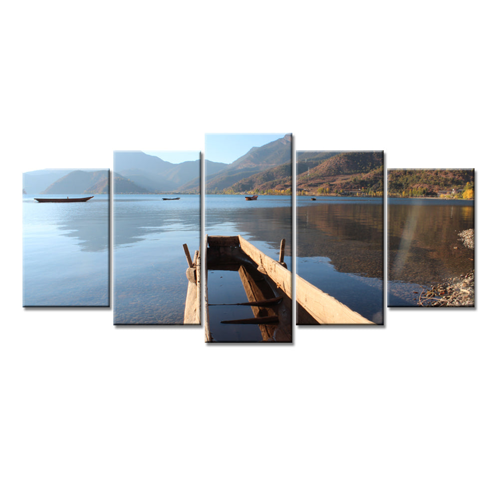 Old Boat On Lake Water Five Piece Canvas